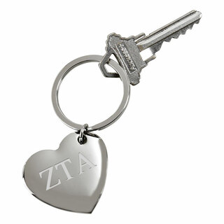 Zeta Tau Alpha Cupid Heart Shaped Key Ring