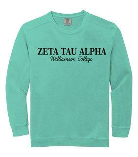 Zeta Tau Alpha Script Comfort Colors Greek Crewneck Sweatshirt
