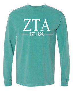 Zeta Tau Alpha Custom Greek Lettered Long Sleeve T-Shirt - Comfort Colors