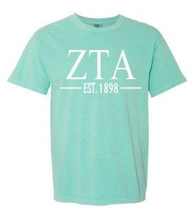 Zeta Tau Alpha Custom Greek Lettered Short Sleeve T-Shirt - Comfort Colors