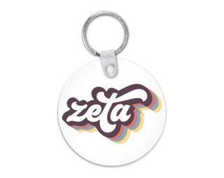 Zeta Tau Alpha Retro Script Keychain