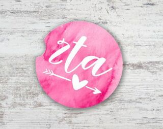 Zeta Tau Alpha Sandstone Car Cup Holder Coaster