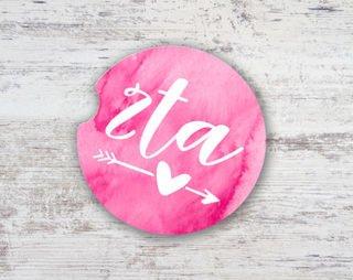 Zeta Tau Alpha Sandstone Car Cup Holder Coaster