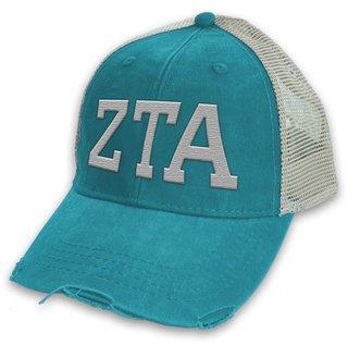 Zeta Tau Alpha Distressed Trucker Hat