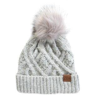 Zeta Tau Alpha Faux Fur Pom Beanie Hat