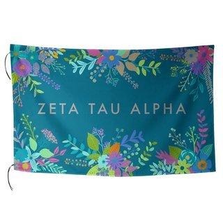 Zeta Tau Alpha Floral Flag