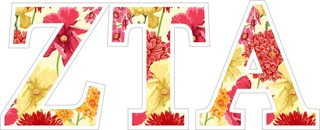 "Zeta Tau Alpha Floral Greek Letter Sticker - 2.5"" Tall"