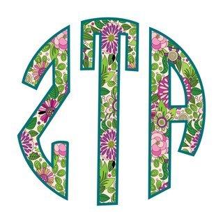 "Zeta Tau Alpha Floral Greek Monogram Sticker - 3"" Tall"