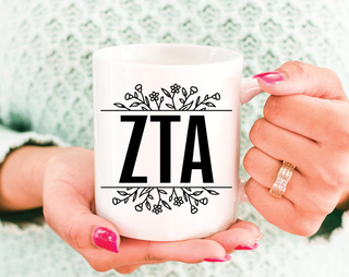Zeta Tau Alpha Floral Letters Mug