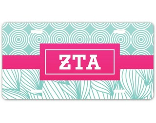 Zeta Tau Alpha Geometric License Plate