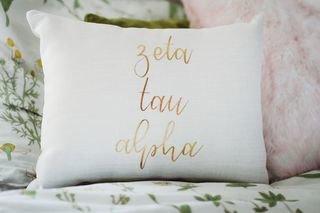 Zeta Tau Alpha Gold Imprint Throw Pillow