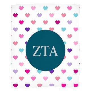 Zeta Tau Alpha Hearts Fleece Blanket