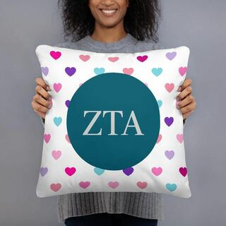 Zeta Tau Alpha Hearts Pillow