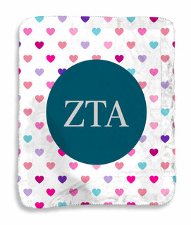 Zeta Tau Alpha hearts Sherpa Lap Blanket