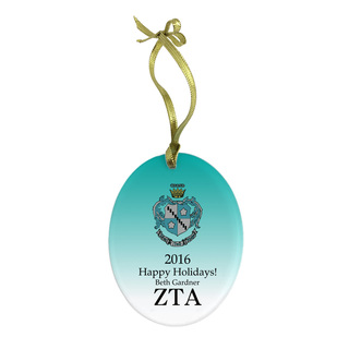 Zeta Tau Alpha Holiday Color Crest - Shield Glass Ornament