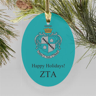 Zeta Tau Alpha Holiday Color Crest - Shield Ornament