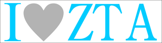 Zeta Tau Alpha I Love Bumper Sticker