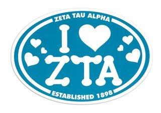 Zeta Tau Alpha I Love Sorority Sticker - Oval