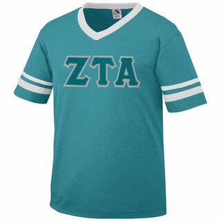 DISCOUNT-Zeta Tau Alpha Jersey With Greek Applique Letters