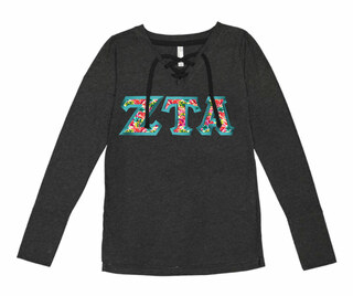 Zeta Tau Alpha LAT - Sorority Fine Jersey Lace-Up Long Sleeve T-Shirt