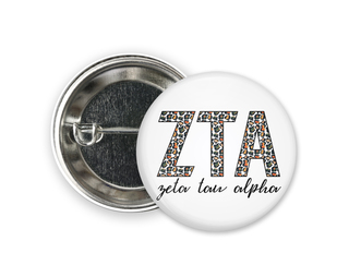 Zeta Tau Alpha Leopard Button