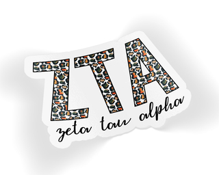 Zeta Tau Alpha Leopard Sticker