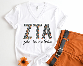 Zeta Tau Alpha Leopard V-Neck Tee