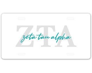 Zeta Tau Alpha Letter Script License Plate