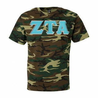 DISCOUNT-Zeta Tau Alpha Lettered Camouflage T-Shirt