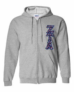 "Zeta Tau Alpha Lettered Heavy Full-Zip Hooded Sweatshirt (3"" Letters)"