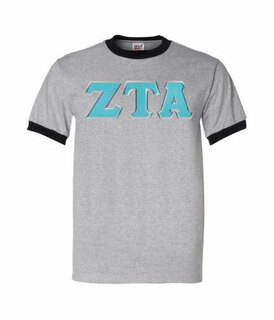 DISCOUNT-Zeta Tau Alpha Lettered Ringer Shirt