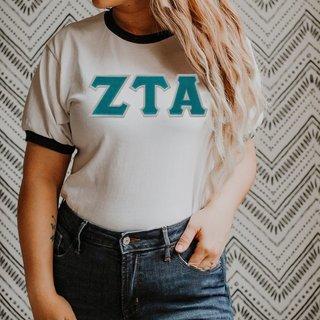 DISCOUNT-Zeta Tau Alpha Lettered Ringer Shirt