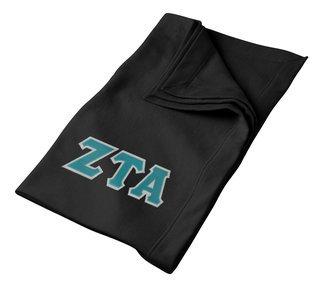 DISCOUNT-Zeta Tau Alpha Lettered Twill Sweatshirt Blanket