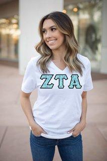 DISCOUNT-Zeta Tau Alpha Lettered V-Neck Tee