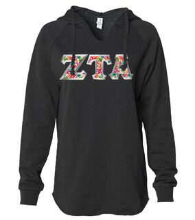 Zeta Tau Alpha Lightweight California Wavewash Hooded Pullover Sweatshirt