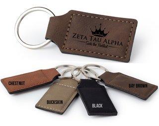 Zeta Tau Alpha Logo Rectangle Faux Leather Keychain