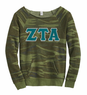 DISCOUNT-Zeta Tau Alpha Maniac Camo Fleece Sweatshirt