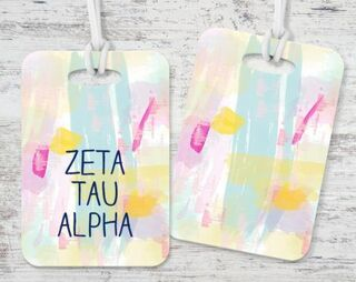 Zeta Tau Alpha Watercolor Luggage Tag