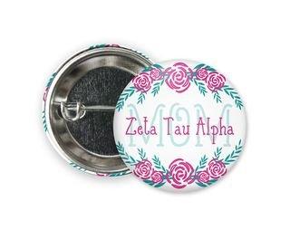 Zeta Tau Alpha Mom Floral Button