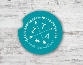 Zeta Tau Alpha Motto Arrows Sandstone Car Cup Holder Coaster