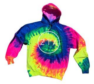 Zeta Tau Alpha Neon Rainbow Tie-Dyed Pullover Hood