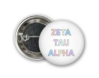 Zeta Tau Alpha Pastel Letter Button
