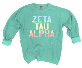 Zeta Tau Alpha Pastel Rainbow Crew - Comfort Colors