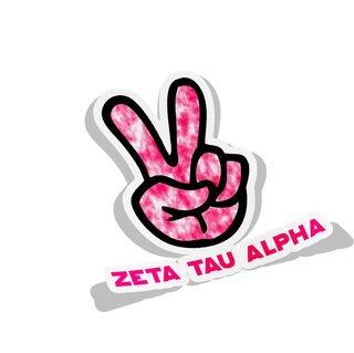 Zeta Tau Alpha Peace Hands Decal Sticker