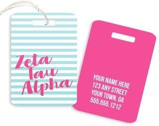 Zeta Tau Alpha Personalized Striped Luggage Tag