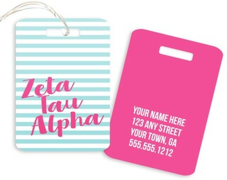 Zeta Tau Alpha Personalized Striped Luggage Tag