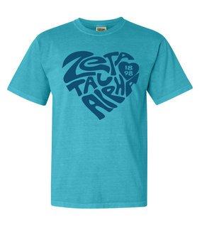 Zeta Tau Alpha Piece of My Heart Sorority Comfort Colors T-Shirt