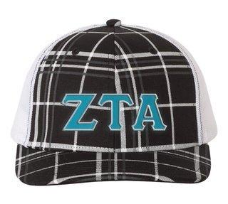 Zeta Tau Alpha Plaid Snapback Trucker Hat - CLOSEOUT