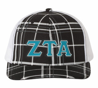 Zeta Tau Alpha Plaid Snapback Trucker Hat