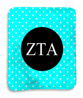 Zeta Tau Alpha Polka Dots Sherpa Lap Blanket